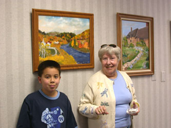 Mrs. Weyrauch,Alex, and her paintings